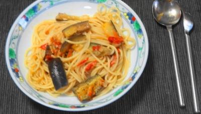 茄子とトマトのスパゲティランチ