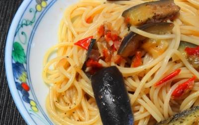 茄子とトマトのスパゲティUP