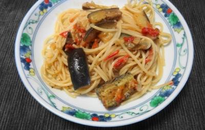茄子とトマトのスパゲティ