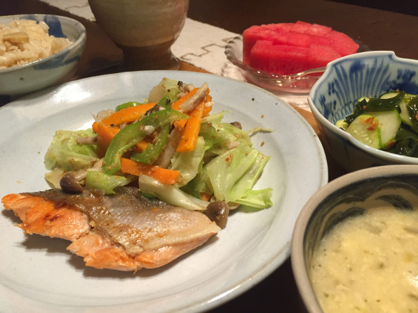 Aug16_鮭と野菜炒め
