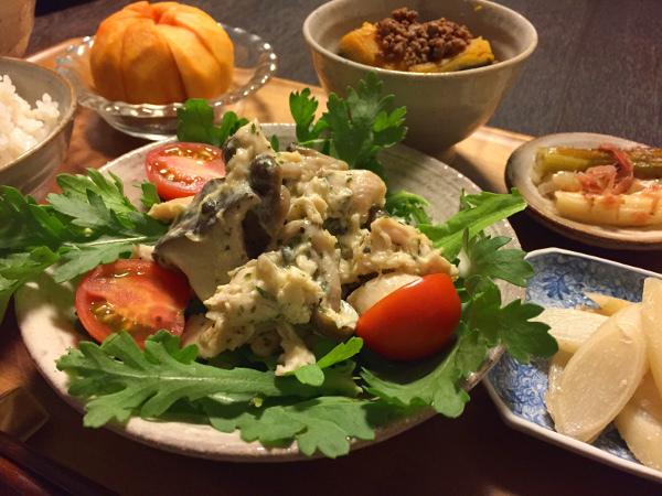Oct27_マヨネーズ和えのせ春菊サラダ
