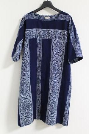 藍染白抜浴衣ワンピース