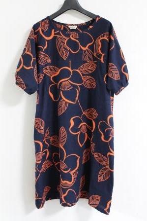 オレンジ椿浴衣ワンピース