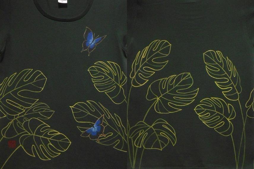 手描きTシャツ ユリシスとモンステラ