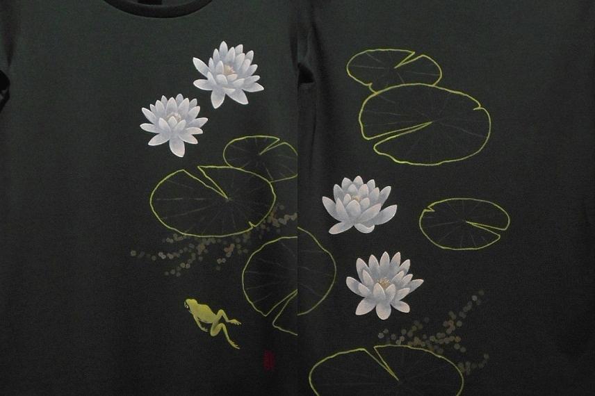 手描きTシャツ カエルと睡蓮