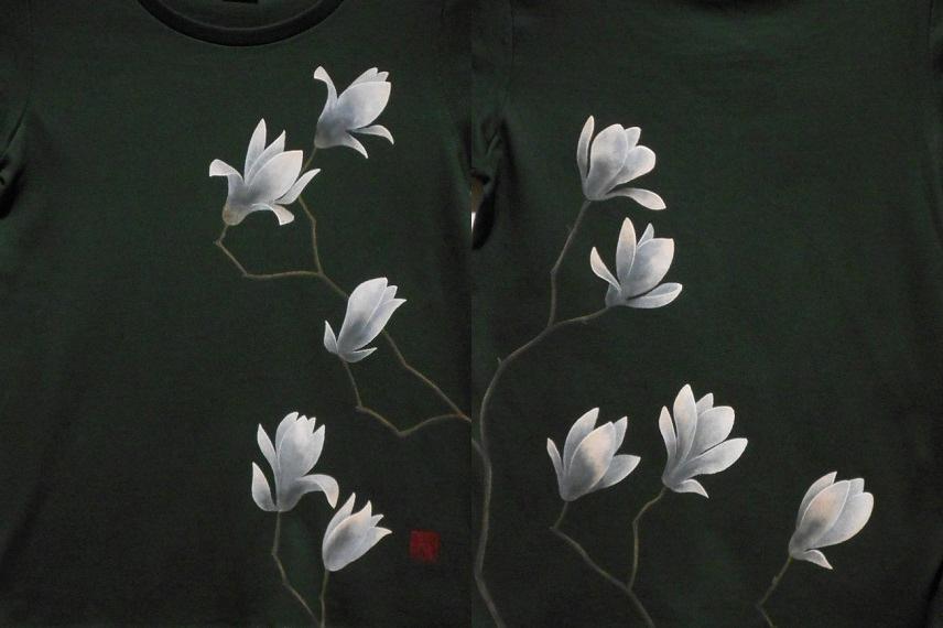 手描きTシャツ 白木蓮 2016