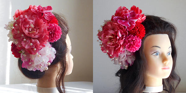 芍薬と胡蝶蘭と牡丹の結婚式髪飾り