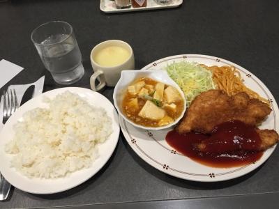160219マルマンライトランチ600円チキンカツと麻婆豆腐