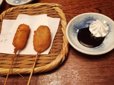 160301串八槙島店串カツバナナはチョコソースかラズベリーソース選べる