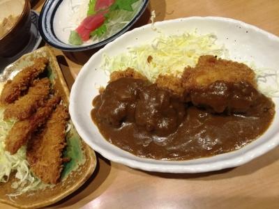 160314テング酒場名古屋栄店ハムカツ313円チキンカツカレーソース421円