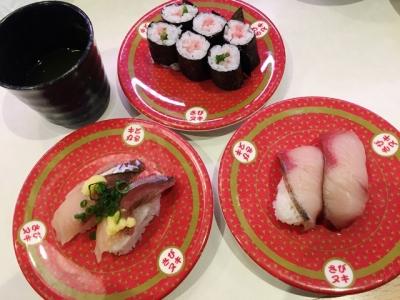 160326はま寿司都島本通店ネギトロ細巻き、生サバ、ブリ各100円
