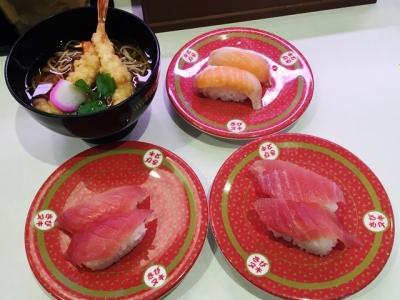 160326はま寿司都島本通店マグロ腹側と背中、サーモン各100円