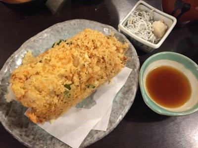160413魚河岸丸天魚河岸店海鮮かき揚げ900円倒して食べてください