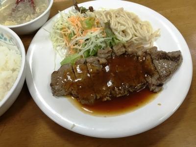 160418十八番本店サーロインステーキ定食500円ステーキ