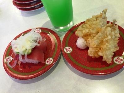 160529はま寿司都島本通店まぐろアボカド、キス天ぷら