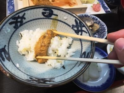 160523鈴木水産生うに定食1500円うに巻きご飯