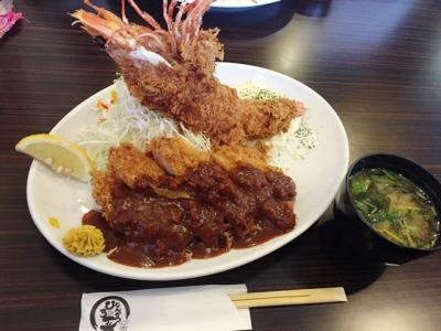 160616ひろ喜特製ロースとんかつ&海老フライ定食1400円