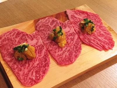 160718和牛焼肉じろうや介wagyusake名古屋駅前本店コースの飛騨牛うに巻きロース