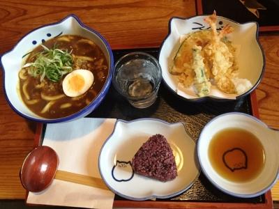 160813のらや石切店わがままうどんセットカレーうどん1058円天ぷらと古代黒米おにぎり