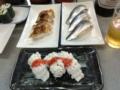 160815大興寿司本店ハモ400円、穴子150円、いわし150円