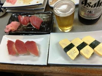 160815大興寿司本店まぐろ150円、本マグロ400円、玉子150円