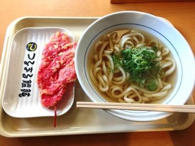 160830つるまる饂飩阪急かっぱ横丁店かけうどん290円、紅生姜天90円