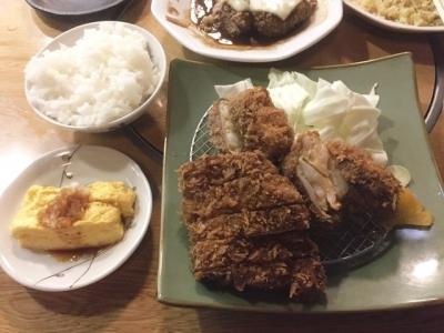 161008仙豆エビカツとロースカツの盛り合わせ定食1080円