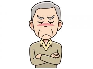 怒る高齢男性