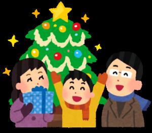 イラスト家族とクリスマス