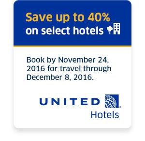 ユナイテッド航空経由のアメリカのホテル予約で最大40%割引