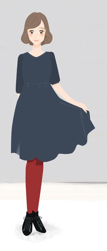 girlワンピース青