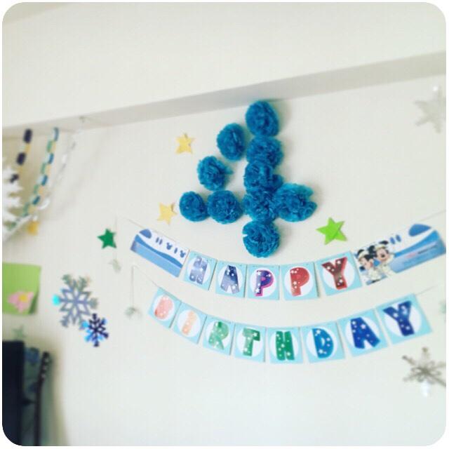 4歳 誕生日 パーティー テーブルコーディネート ウォールデコレーション