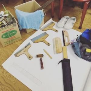 壁紙施工道具をお手入れ