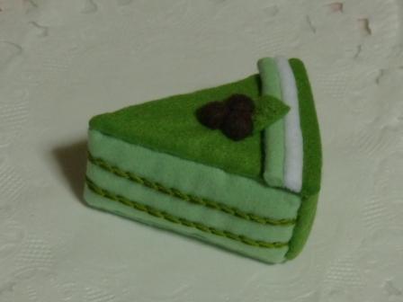 フェルト手芸 抹茶ケーキ 2