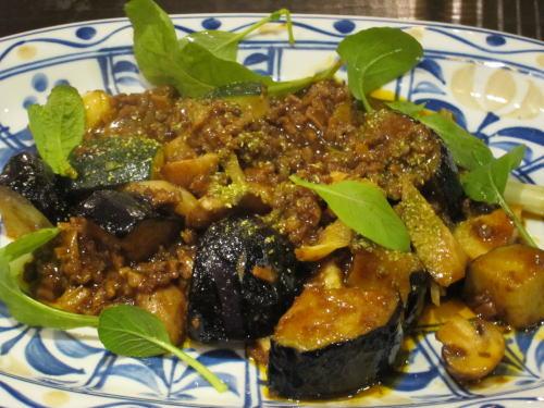 米茄子の肉味噌炒め