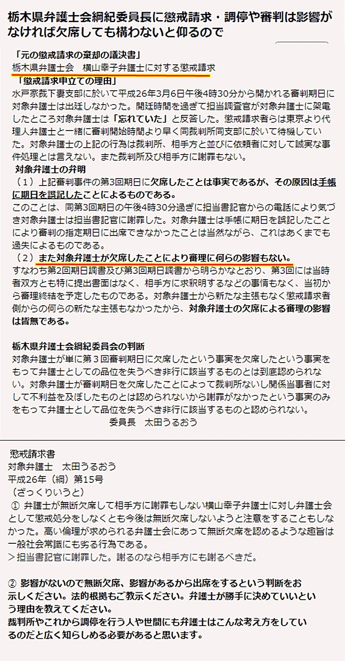 横山幸子弁護士 横山法律事務所 栃木県弁護士会 太田うるおう綱紀委員会1