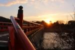 夕日に輝く朝霧橋