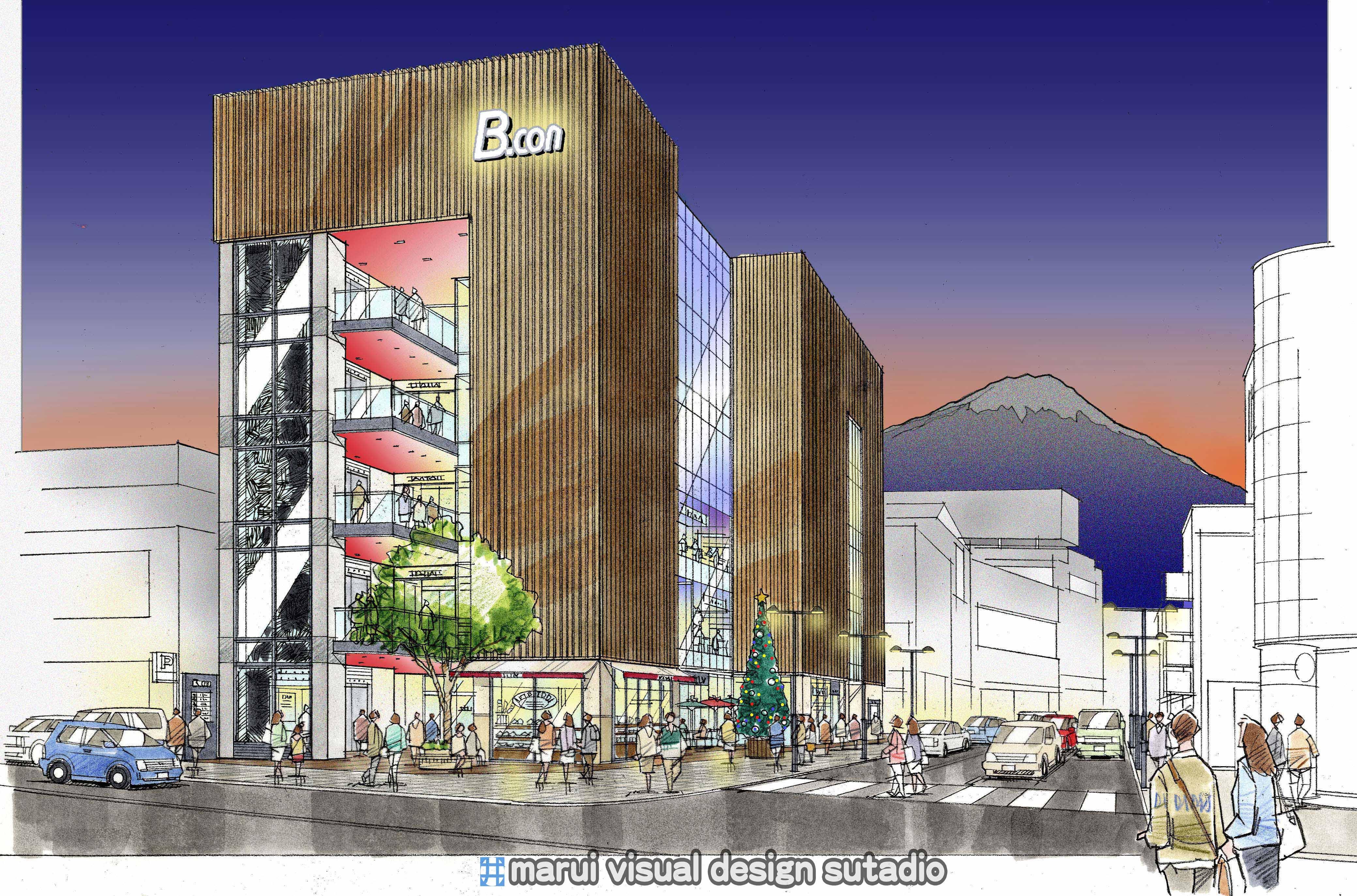 御殿場駅前商業ビル計画パース