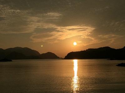 須佐湾の夕暮れ空