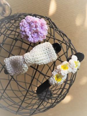 編み物ヘアクリップ