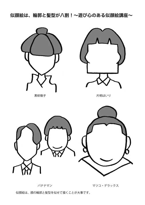 輪郭と髪型が八割図説