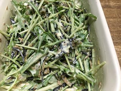水菜とひじきのごまマヨ