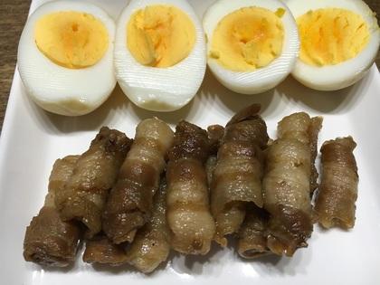 豚バラクルクル煮とゆで卵
