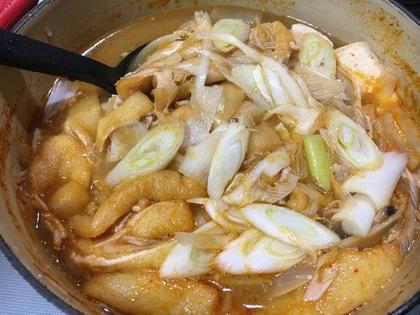 残っていたキムチ鍋の素でキムチ味噌汁
