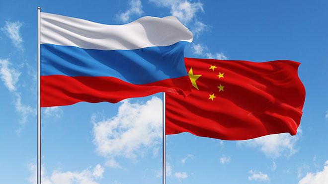 ロシア中国国旗