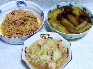 160513_3929もやしと豚肉の胡麻炒め・茄子の煮浸し・もやしと白菜、鶏肉の煮物VGA