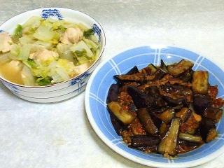 160531_3956白菜と鶏むね肉のコーンクリーム煮・茄子の肉味噌炒めVGA