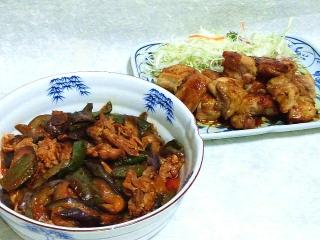 160614_4005茄子と豚コマのチリソース炒め・一口チキンステーキVGA