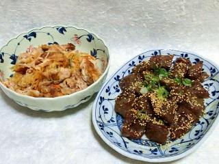 160705_4034豚コマと千切り大根のポン酢炒め・コンニャクのピリ辛にんにく炒めVGA