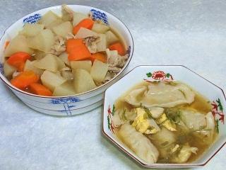 160719_4058根菜と豚肉の煮物・スープ餃子VGA